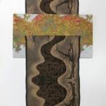 あのすばらしい9マルキ総絣の大島紬に合わせる帯選びをいたしました。