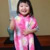 ことな3歳の絞りの浴衣と巾着、髪飾り