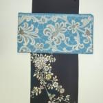 付け下げ濃い地に更紗紫とトルコブルー袋帯/九寸名古屋帯白い百合