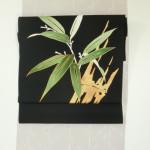 おしゃれなコーデ本金竹、牛首紬に南国花、わに柄絞り、本金使用鳳凰メディチ