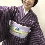 紫の米沢紬と染め名古屋帯