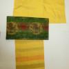 サフランの黄色い紬と緑鳳凰の袋帯おしゃれコーデ!(