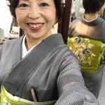 7月のお食事場所での紬と帯のコーデ